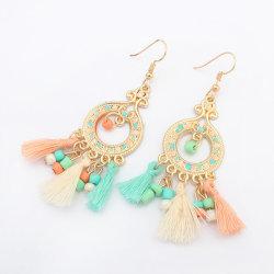 Bohemian Fashion Style ethnique en perles de riz long Tassel Earrings