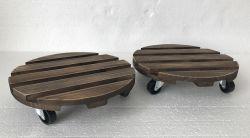 Jf rodillo de madera soporte de la sembradora de madera antiguo de la base de Maceta