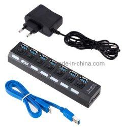 7 ports USB 3.0 HUB USB avec l'interrupteur avec adaptateur secteur