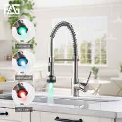 Flg светодиодный индикатор одного ручку под струей воды матовый никель потяните вниз под струей горячей воды кран на кухне