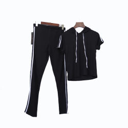 여자의 스웨터 두건을%s 가진 Short-Sleeved 스포츠 한 벌