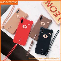 Stock disponible en silicone de l'ours Téléphone Téléphone logiciel de dessin animé de cas couvrir avec de la corde
