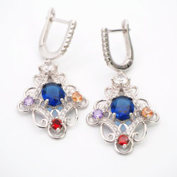 Placage rhodium coloré CZ S925 Silver Earrings Bijoux en pierres synthétiques