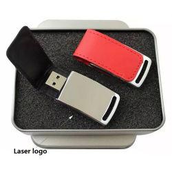 De embleem Afgedrukte Aandrijving van de Flits USB van het Leer 64GB 128GB van de Schijf van het Geheugen