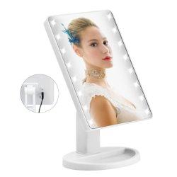 Meuble-lavabo réglable de la lampe de table 21 voyants LED lumineux écran tactile miroir de maquillage miroir Portable 360 Degrés de rotation