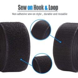 Naai de niet-klevende achterkant van 2 inch op de haak en de lus Nylon strips Fabric Fastener Non-Adhesive Interlocking Tape Black
