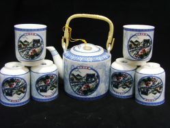 Insieme di tè della porcellana di stile cinese in contenitore di regalo