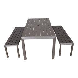 パティオモダンアルミニウムベンチチェア屋外ダイニングテーブルセット