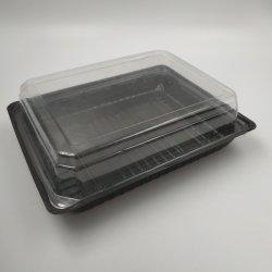 مضادّة ضباب أسود قاعدة وغطاء شفّافة بلاستيكيّة طبق أرز ياباني [كنتينر.]