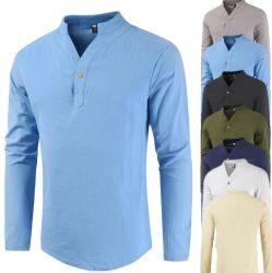 Os homens a longo Sem gola da camisa roupa de algodão V camisas de manga