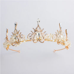 Hochzeits-Kronen-Goldperlen-Diamant-Legierungs-Haar-Zubehör der Braut