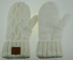 BSCI câble blanc polaire acrylique tricotés adulte Gants chauds d'hiver