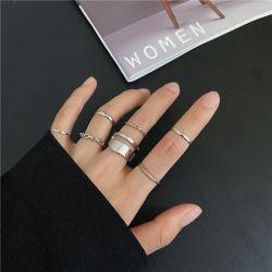 Conjunto de anéis de corrente largos Punk Gold para a Moda das mulheres meninas Anéis finos irregulares do dedo presente 2021 Festa fêmea da jóia