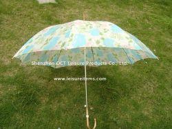 공상에 의하여 구부려지는 손잡이 (OCT-TT019)를 가진 찍힌 보통 똑바른 우산