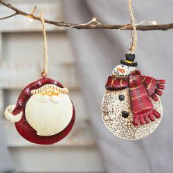 Печать на холсте Санта Клаус Angel елочные украшения висящих кулоны утюг полимера ремесла в новом году Xmas стиле домашней группы в стиле Арт Деко 62601