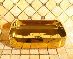 Art céramique décorative en or de luxe rectangulaire du bassin de la Salle de Bain lavabo pour salle de bains et l'hôtel
