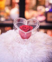도매 주문 아크릴 명확한 분홍색 단 하나 줄기 꽃 상자 플라스틱 심혼 모양 로즈 상자