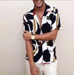 Os homens o colar de lapela de impressão de moda Streetwear Havaiana respirável Camisas Casual