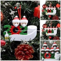 Fai da te Nome Blessings personalizzato quarantena albero di Natale Hanging Survivor Famiglia Con igienizzatore per mani viso ornamento di Natale