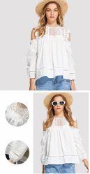 어깨 숙녀 우아한 백색 레이스 여자 블라우스 상단 떨어져 의복 여름 Blusas