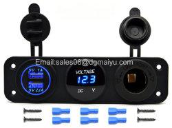 Neuer Auto-Motorrad-Energien-Kanal Doppel-Zigaretten-Feuerzeug-Kontaktbuchse der USB-Adapter-Aufladeeinheits-+12V/24V + Digital-Voltmeter für Telefon iPod