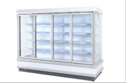Supermercado Multideck Vertical de la puerta de cristal enfriadora refrigerada vitrina con sudor libre