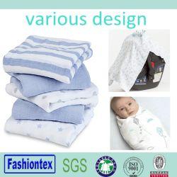 幼児環境に優しい赤ん坊の綿モスリンの布の100%年の綿は毛布を包む