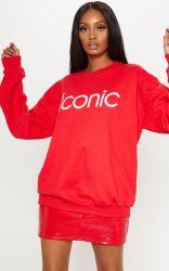 جديدة نمط نساء أحمر قطن علامة تجاريّة طباعة طويلة كم كنزة تصاميم