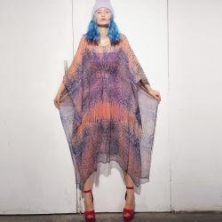 Plus la taille de la qualité en mousseline robe Kaftan d'impression avec manchons Batwing