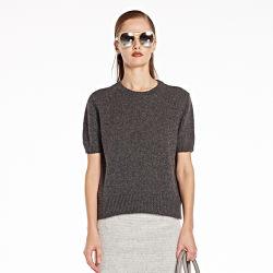 Senhoras Cashmere Suéter mangas curtas, ao redor do pescoço para a Primavera