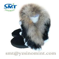 Barato Raccoon Fur solado EVA Shearling mulheres revestidos com botas de neve