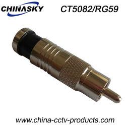 Compressão de CCTV adaptador RCA macho para cabo RG59 (TC5082/RG59)