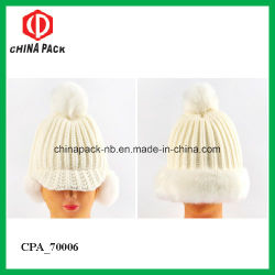 White Winter Knitting Acrylic Pompom Beanie Hats (CPA_70006)