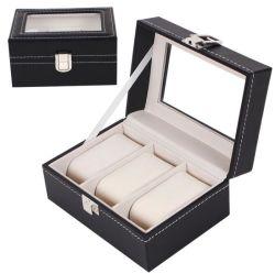 Schlitze PU-lederner schwarzer Uhr-Ablagekasten der Punkt-Zubehör-Qualitäts-3, Großverkauf-betriebsbereiter Aktien PU-Leder-Uhr-Organisator-Speicher-Fall-Schmucksache-Uhr-Kasten