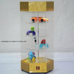 Gran juguete acrílico giratorios Vitrina con luz LED para almacenar