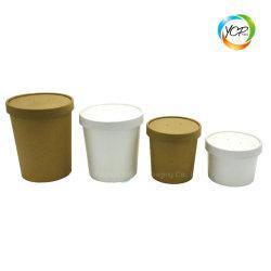 De beschikbare Kop van de Soep van de Emmer van de Kom van het Document van Kraftpapier van de Verpakking van het Voedsel