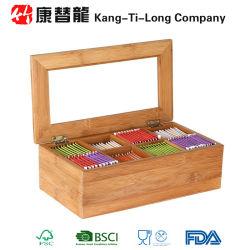 대나무 차 저장 상자 8 동등하게 분할된 격실 조직자 콘테이너