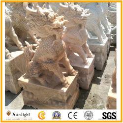 Leão em mármore de pedra natural/Kylin Estátua de animais a escultura e talha