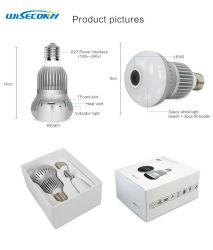 Fisheye Mini Lámpara Bombilla de la cámara inalámbrica oculta con ranura para tarjeta Micro SD