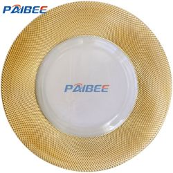 Paibee barato al por mayor de la cena en casa de la placa de vidrio de placa de vidrio de la placa de boda parte alquiló un plato de vidrio