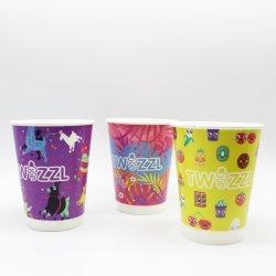 Beber té caliente desechables de doble pared Aislante de papel Café Taza tazas con tapa