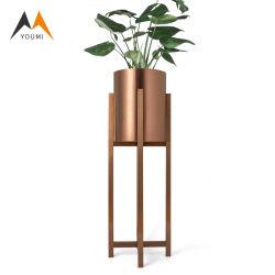 Custom Décoration de mariage en acier inoxydable doré fleur Stand