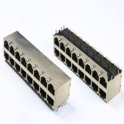 Los puertos de 2X8 doble conector RJ45 con certificado UL