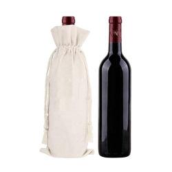 Il sacchetto del vino del Drawstring del cotone, commercio all'ingrosso personalizza il sacchetto impaccante della tela di canapa della mussola del calicò del regalo promozionale naturale antipolvere durevole di acquisto