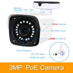 4CH 3MP Kits Poe H. 265 Segurança CCTV NVR Poe metálica exterior IP impermeável com câmaras de vigilância de vídeo de alarme P2P P6spro