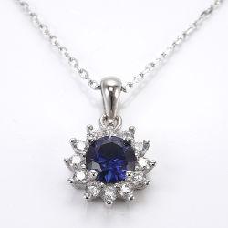 Lujo Azul Colgante Collar mayorista Corindón de piedras preciosas plata esterlina 925 Collar de cadena larga románticos para mujeres regalos Joyería