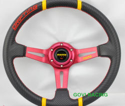 14дюйма 355 мм ПВХ углерода рулевого колеса автомобиля в алюминиевом корпусе
