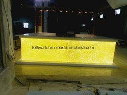 Conception moderne de luxe de fantaisie de forme carrée translucide LED comptoir de bar du restaurant