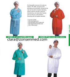 Fabricant de vêtements jetables à bon marché PP SMS Blouse de laboratoire avec des attaches Velcro fermeture éclair