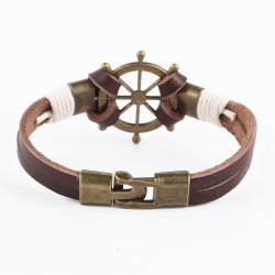 Venda por grosso Punk sentido Rudder-Chain bracelete de couro da camada superior da bandeja